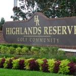 Highlands Reserve Entrance